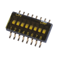 Dip Switch SMT Type 25mA, 24VDC Pin spacing 1.27 mm; 8-pole in tape-and-reel packaging