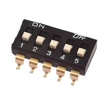 Dip Switch SMT Type 25mA, 24VDC Pin spacing 2.54 mm 8-pole in tube or tape-and-reel packaging